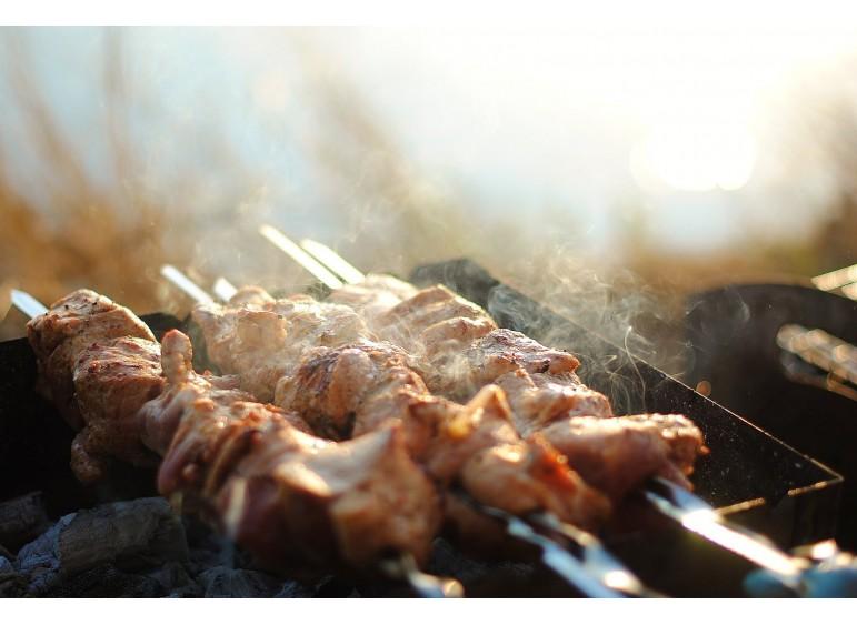Shish kebab with honey and soy sauce