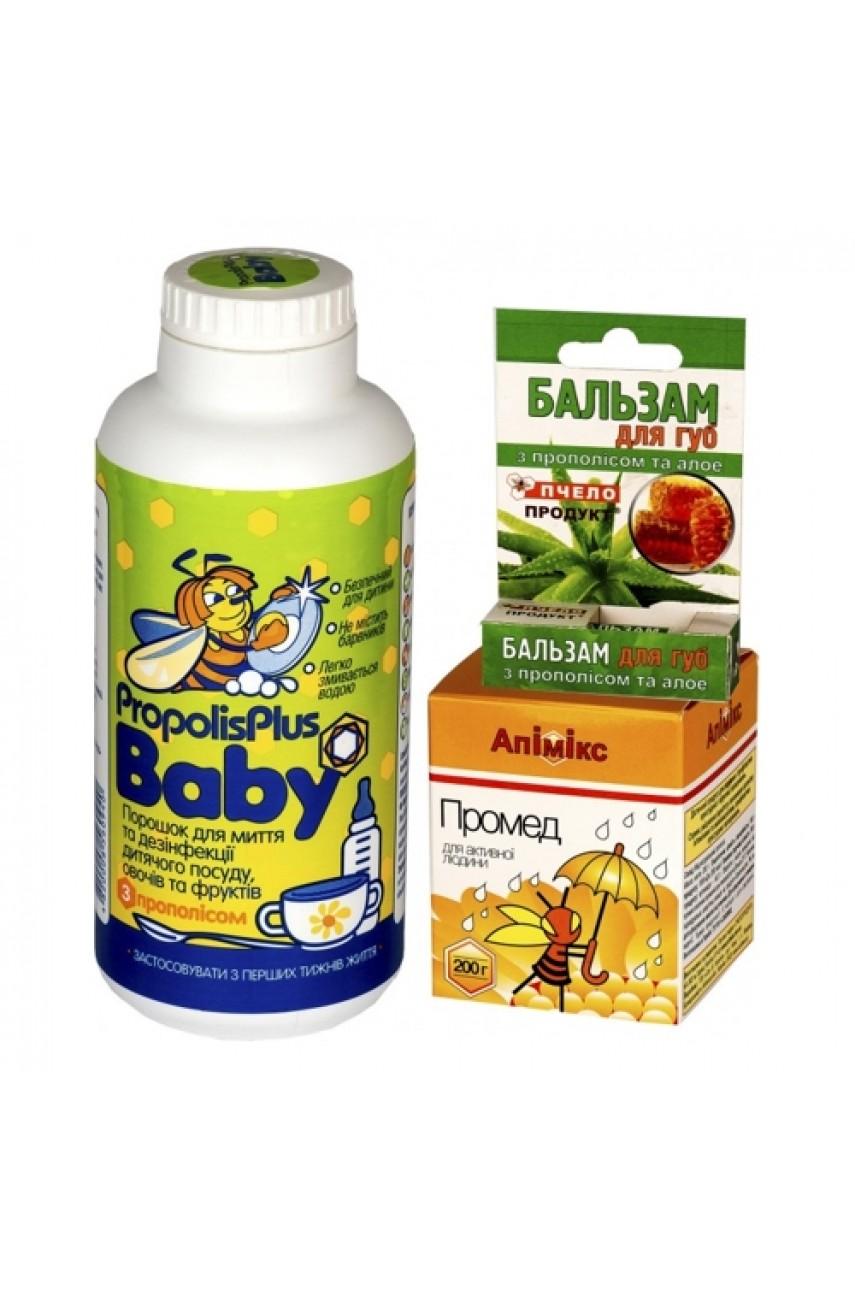 """Подарочный набор """"Propolis Plus Baby + Апимикс Промед + бальзам для губ """""""