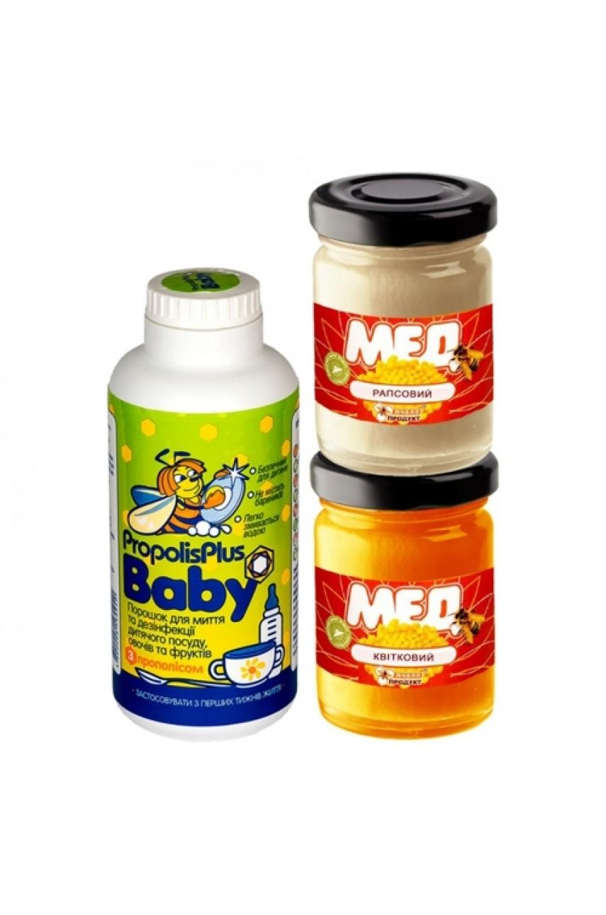 """Подарочный набор """"Propolis Plus Baby + Набор из 2х видов меда"""""""