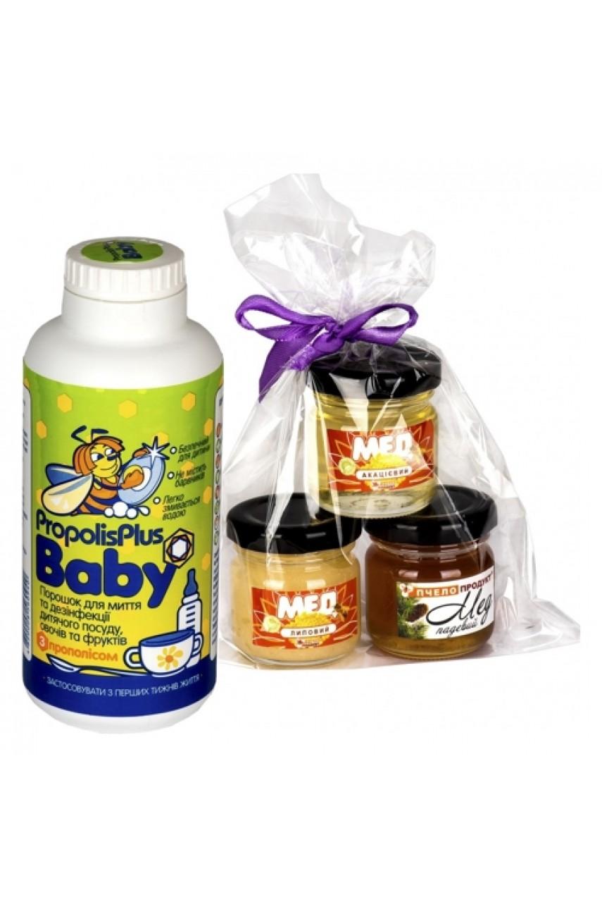 """Подарочный набор """"Propolis Plus Baby + Набор из 3х видов меда"""""""